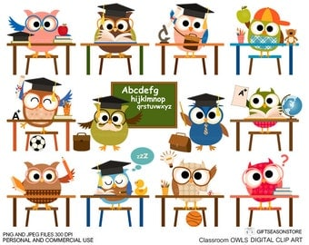 Classroom owl clip art for Personal and Commercial use - INSTANT DOWNLOAD
