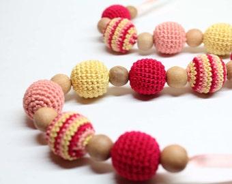 Bright Multicolor Crochet Nursing Necklace-Breastfeeding Necklace - Teething necklace with crochet beads