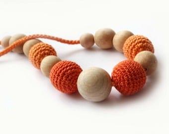 Orange Nursing Necklace- Breastfeeding Necklace -Tangerine Crochet Necklace for mom and child
