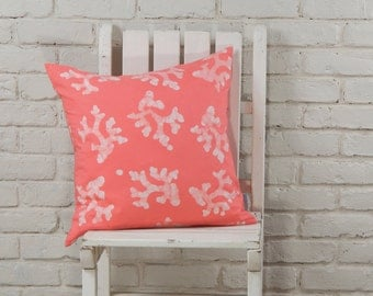 "Nautical Decor: Hand stamped hand dyed coral pink coral pillow cover, 20""x 20"" made to order"