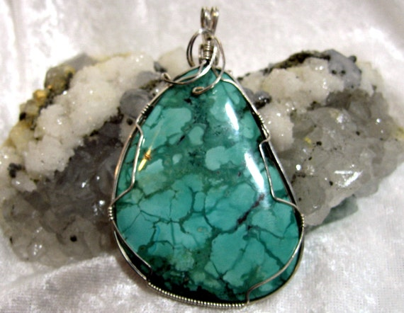 Huge Turquoise Pendant Wire Wrapped Pendant Solid 930 Sterling Silver Argentium 930 Anti-tarnish wire