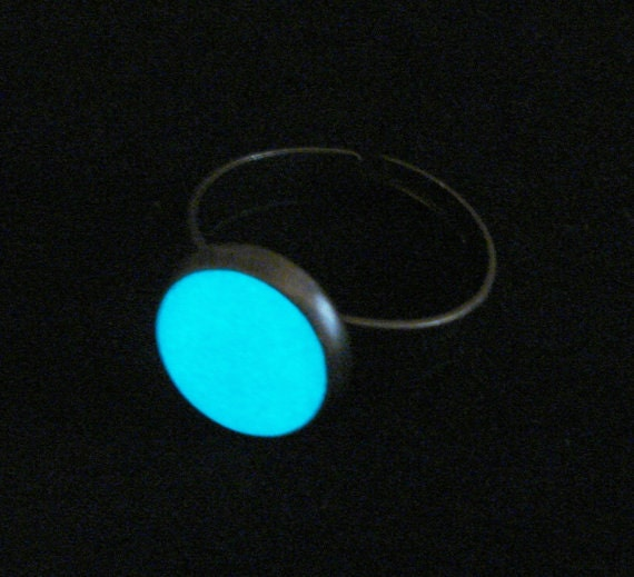 Enchanted Full Moon Ring Glow In The Dark Ring Antique Bronze And White (glows aqua blue)