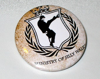Ministry of Silly Walks pinback button Monty Python badge Silly Walks Magnet, Monty Python Keychain, Funny Buttons, Cute Pins, Backpack Pin