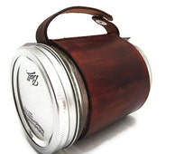 Brown Leather Mason Jar Cozy Sleeve - Mason Jar Coffee Cup - Handcrafted in America
