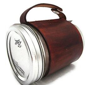 Brown Leather Mason Jar Cozy Sleeve - Mason Jar Coffee Cup - Handcrafted in America