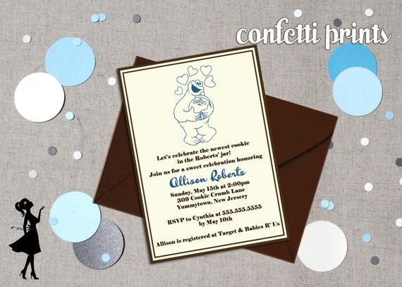 cookie monster baby shower invitation by confettiprintsshop