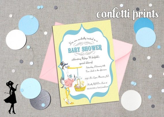 Baby Shower Invitation - SPECIAL DELIVERY Vintage Printable