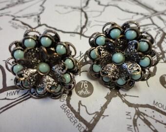 Vintage Turquoise Screwback Earrings