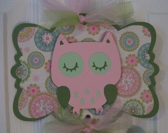 Baby Girl Hospital Banner - Girl Owl Sign -   Girl Baby Shower Banner - 2 cards
