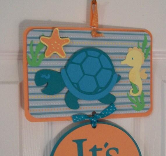 Under the sea baby boy hospital door sign baby boy shower for Baby boy door decoration