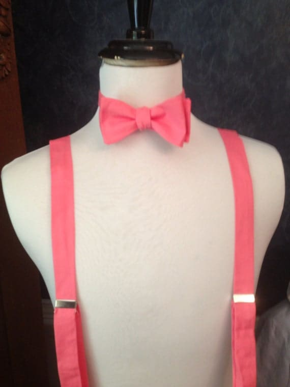 items similar to pink coral bow tie and suspender