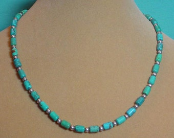 Vintage Turquoise and silver necklace - 17 inches - N012