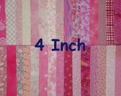 """DESTASH Quilt Fabric Cotton 4"""" Squares Pink Charm Pack"""