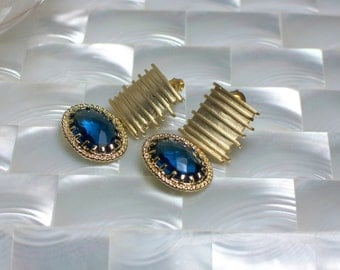 Sapphire Blue Earrings,  Post Earrings, Gold Earrings, Modern Jewelry, Fashion Earrings, Cubic Zirconia Earrings
