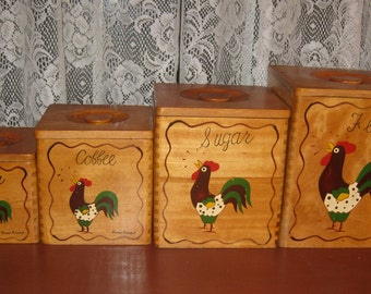 Vintage Hand-painted Wood Rooster Canisters