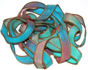 "Sassy Silks Hand Painted/Dyed Ribbons Jamaica Bay 42"" to 44"" x 1/2"""
