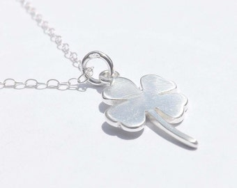 Four Leaf Clover Necklace in Sterling Silver-Sweet and Simple Shamrock for Good Luck - Birthday,Wedding,Graduation,Mother,Sister,Bridesmaid
