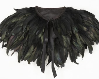 Black feather cape top feather jacket epaulettes steampunk capulet
