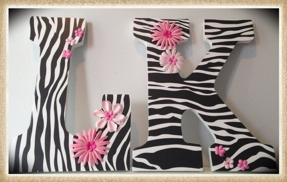 Zebra Nursery or Bedroom wall letters. Flowers. Pink. by dmh1414