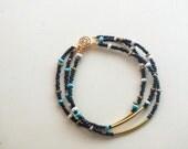 Beaded Bracelet, Tribal, Stacked