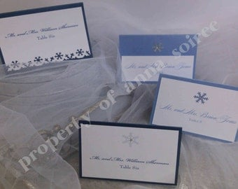 PLACE CARD Escort Card - Winter Wonderland Theme Wedding Double Layer Placecard - Personalized with Colors, Name, & Table