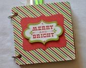 Merry and Bright mini album - Chipboard Album - Christmas Album - Photo Album - Memory Book