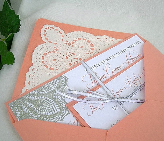 Items Similar To Coral N Linen Wedding Invitation W Doily