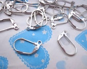 SALE--100Pcs (50 Pairs) - Silver Plated Lever Back Ear Hooks, Leverback Ear Wires, Earwires Findings