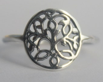 Celtic Tree of Life Sterling Silver Ring, Yggdrasil, Sacred Viking symbol, Nordic mythology Wold Tree, Divine Tree of the Cosmos