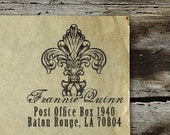Personalized Address Stamp, Self Inking, Return Address Stamp, Wedding stamp, Housewarming Gift - FREE SHIPPING - Fleur de Lis