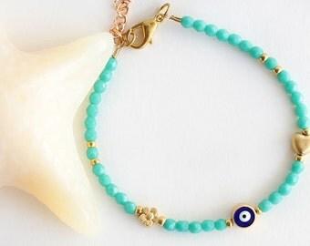 Evil eye bracelet, turquoise czech crystals, turquoise bracelet, gift for her, valentine gift, best friend birthday gift, mother gift
