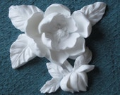 "5"" Floral Magnolia Shabby Cottage Chic Resin Architectural Furniture Applique Barbola"