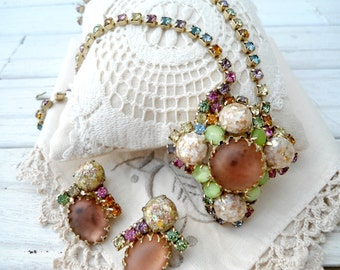 Vintage Demi Parure Statement Necklace and Earrings - Confetti Art Glass Necklace and Clip on Earrings