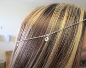 Silver head chain with swarovski crystal drops