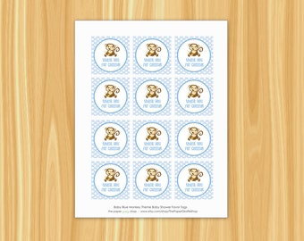 Monkey Favor Tags | Monkey Baby Shower Favor Tags | Baby Blue Monkey Favor Tags | Monkey Baby Shower