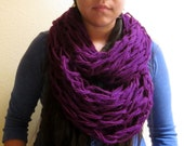 Purple Infinity Scarf / Royal Purple Winter Chain Scarf / Knitted Wrap