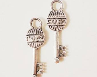 Silver Key Charms 26x8mm Antique Silver Metal Alloy Skeleton Key Charms Double Sided Key Pendant DIY Jewelry Making Jewelry Findings 10pcs