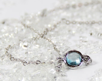 Aqua and Silver Stacking Necklace - BridesMaid Gift - Gemstone Necklace