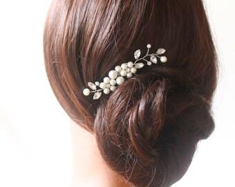 Bridal Rhinestone Crystals Pearls Hair Comb, Wedding Hair Clip, Fascinator, Vintage Crystal Comb, Wedding Accessories