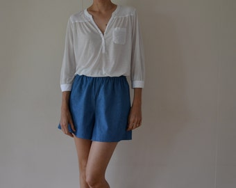 Chambray denim womens culottes, shorts. Loose fit, high waisted, wide leg.