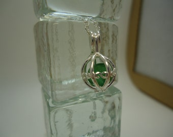 Cushion Cut Caged Emerald Necklace in Sterling Silver   #1098