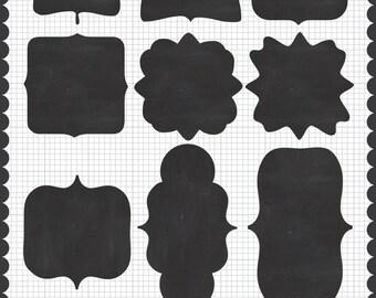 Instant Download Printable Digital Clipart Chalkboard Scrapbook Frames & Labels Journaling Spots Clip Art Commercial Use Royalty Free