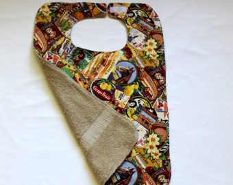 Adult Bib/Clothing Protector - Terry Cloth/Cotton - Nostalgic Tan Print - Unixex