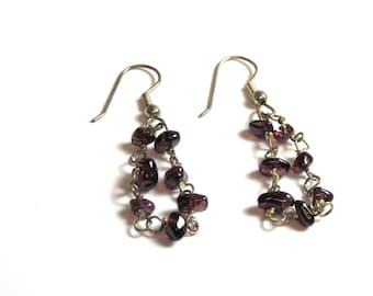 Vintage Silver Purple Stone Earrings Pierced - Dangle - Pierced - Reduced # 2252