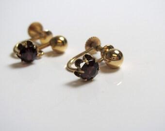 14k Yellow Gold Synthetic Garnet Petit Dangle Earrings Screw Back - January Birthstone - REDUCED