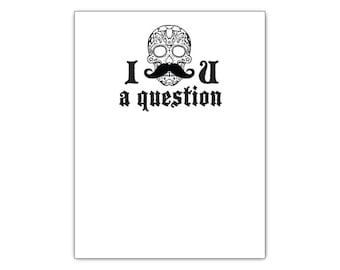 Day of the Dead Sugar Skull with Mustache Funny Notepad