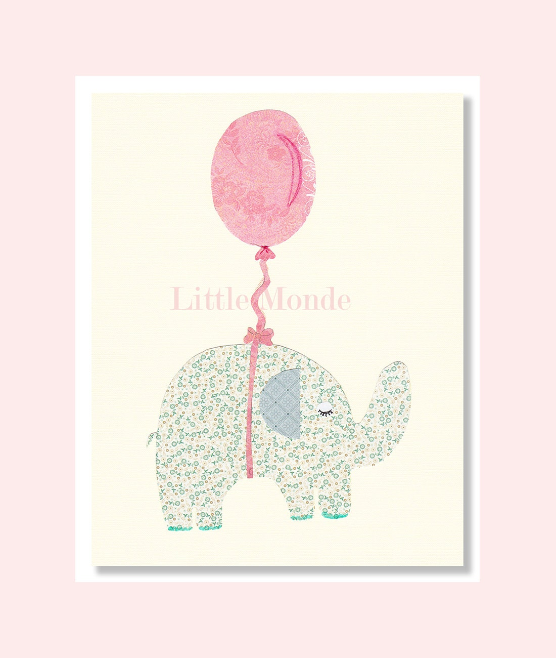 Baby girl nursery prints nursery art prints elephant for Baby girl nursery paintings