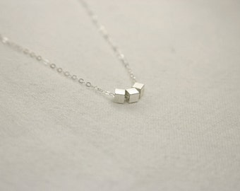 Silver necklace with tiny cube beads