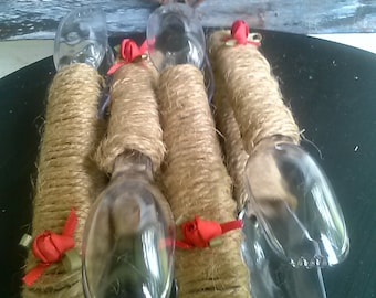 4 clear rustic jute twine tongs for wedding, candy buffet or party serving untensils