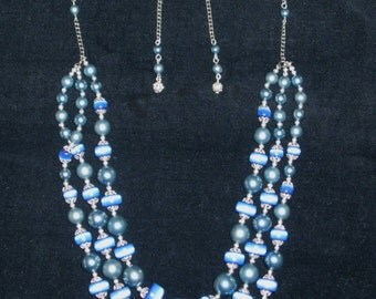 Big Blue Space Mid-Century Necklace & Earrings